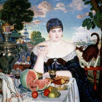 Stillleben Gemälde - Merchant's Wife at Tea - Kustodiev, Boris
