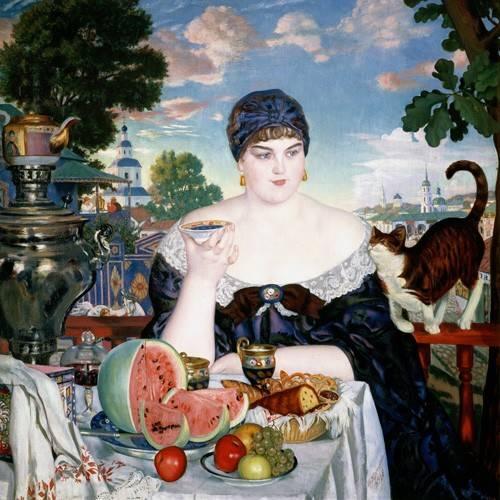 stillleben-gemaelde - Merchant's Wife at Tea - Kustodiev, Boris
