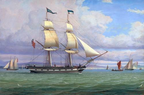 seelandschaft - The English Brig 'Norval' before the Wind, 1833 - Clark, William