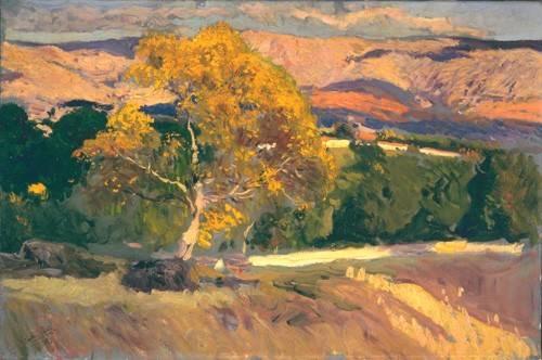landschaften-gemaelde - Arbre jaune, la ferme, 1906 - Sorolla, Joaquin
