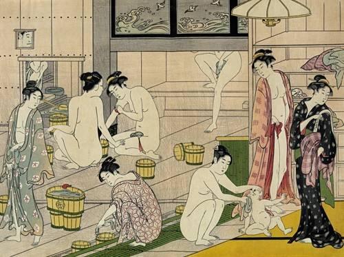 orientalische-gemaelde - Bathhouse women - Kiyonaga, Torii