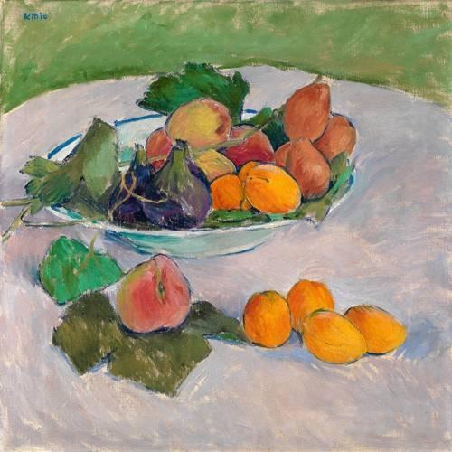 stillleben-gemaelde - Still life with fruits and leaves - Moser, Kolo