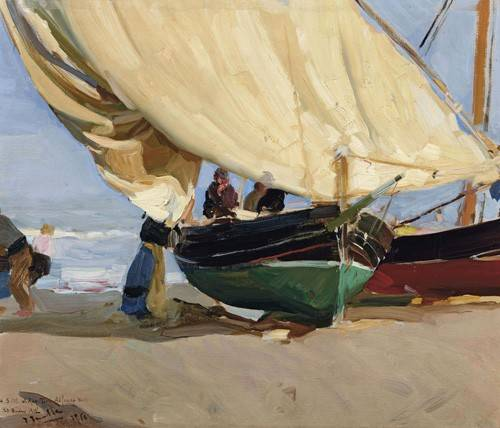 seelandschaft - Pêcheurs et bateaux échoués, Valence, 1910 - Sorolla, Joaquin