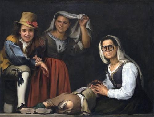 portraetgemaelde - Cuatro figuras en un escalon, 1655 - Murillo, Bartolome Esteban