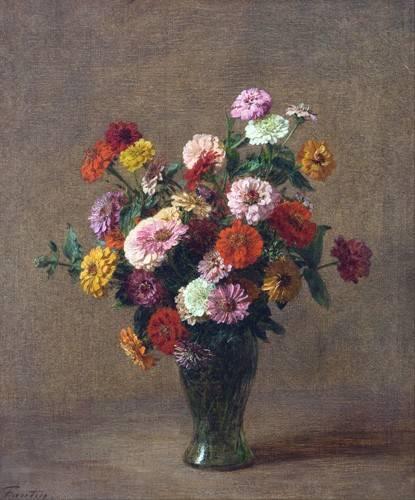 blumen-und-pflanzen - Zinnias - Fantin Latour, Henri