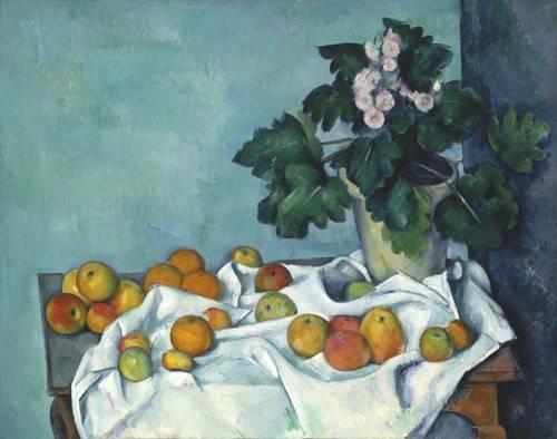 stillleben-gemaelde - Nature morte aux pommes et au pot de primevères, 1890 - Cezanne, Paul