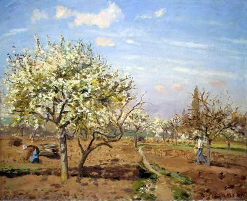 landschaften-gemaelde - Huerto en Flor (Louveciennes), 1872 - Pissarro, Camille