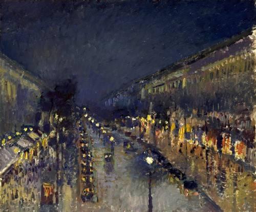 landschaften-gemaelde - The Boulevard Montmartre at Night, 1897 - Pissarro, Camille
