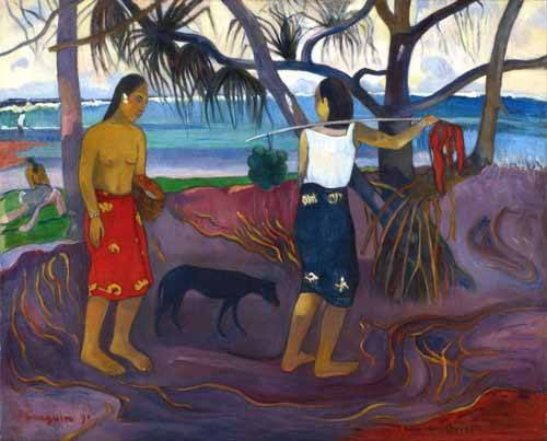 landschaften-gemaelde - I Raro Te Oviri (Under the Pandanus) - Gauguin, Paul