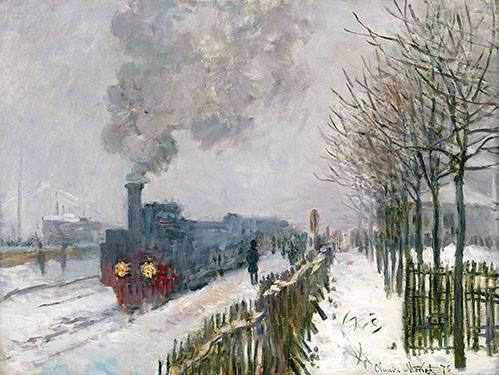 landschaften-gemaelde - Train dans la neige, La Locomotive, 1875 - Monet, Claude