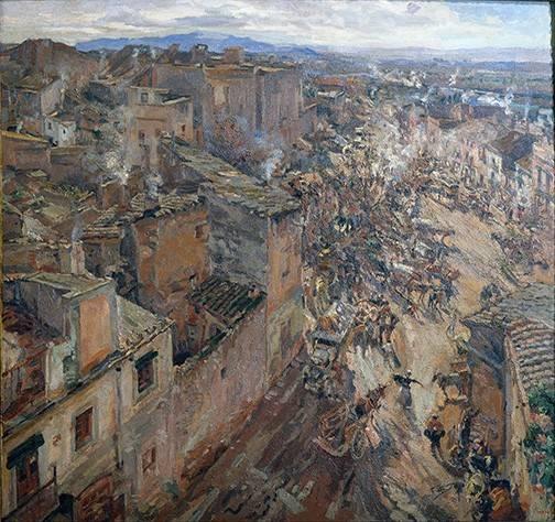 landschaften-gemaelde - Dia de mercado en Torroella, 1918 - Gimeno, Francesc