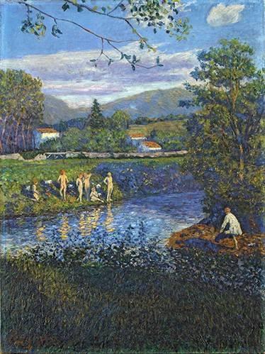 landschaften-gemaelde - Baño en Rentería - Regoyos, Dario de