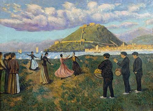 landschaften-gemaelde - Baile en El Antiguo, San Sebastian - Regoyos, Dario de