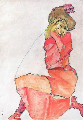 portraetgemaelde - Kneeling Female in Orange-Red_Dress, 1910 - Schiele, Egon