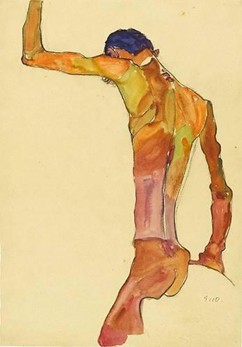 portraetgemaelde - Standing Male Nude with Arm Raised Black View, 1910 - Schiele, Egon