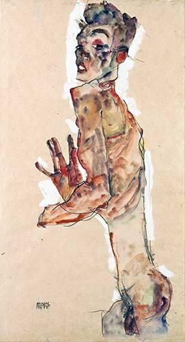 portraetgemaelde - Self-Portrait with Splayed Fingers - Schiele, Egon