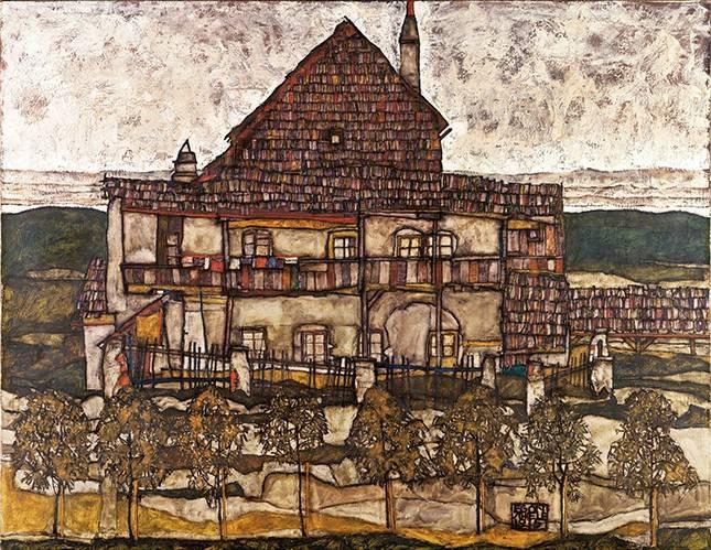 landschaften-gemaelde - House with Shingle Roof (Old House II), 1915 - Schiele, Egon