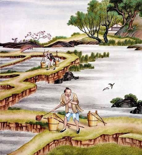 orientalische-gemaelde - Campesinos transportando agua - _Anonym China