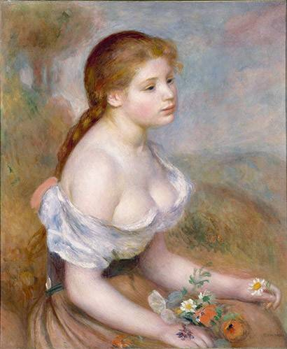 portraetgemaelde - Jeune avec des marguerites - Renoir, Pierre Auguste