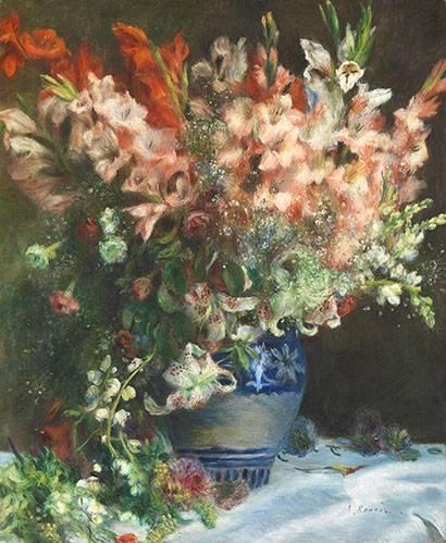 blumen-und-pflanzen - Glaïeuls dans un vase - Renoir, Pierre Auguste