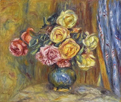 blumen-und-pflanzen - Roses et rideau bleu - Renoir, Pierre Auguste