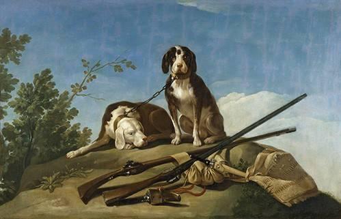 tiermalereien - Perros en trailla, 1775_(caza) - Goya y Lucientes, Francisco de