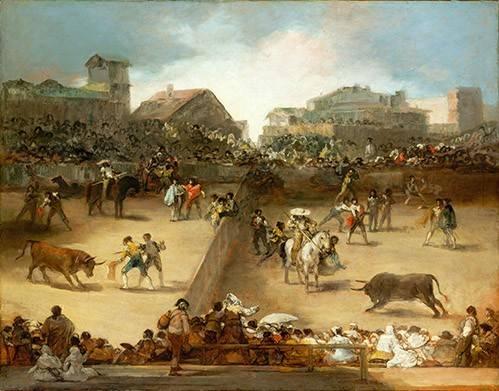 tiermalereien - Corrida de toros en una plaza partida - Goya y Lucientes, Francisco de