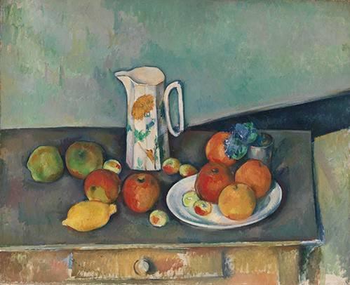 stillleben-gemaelde - Nature morte avec fruits et pot - Cezanne, Paul