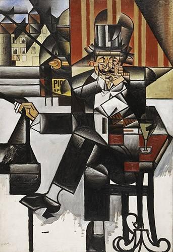 abstrakte-gemaelde - Mann in einem Café - Gris, Juan