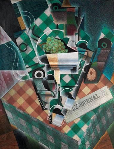 abstrakte-gemaelde - Stillleben mit karierter Tischdecke, 1915 - Gris, Juan