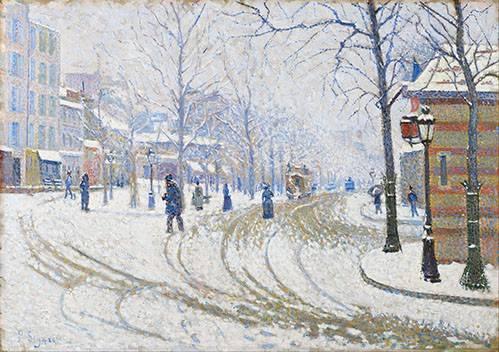 landschaften-gemaelde - Snow, Boulevard de Clichy, Paris - Signac, Paul