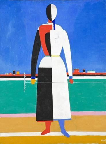 abstrakte-gemaelde - Frau mit einem Rake, c.1928-32 - Malevich, Kazimir S.
