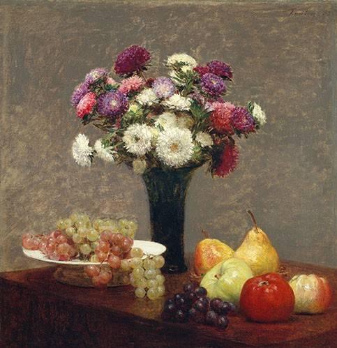 stillleben-gemaelde - Asters and Fruit on a Table - Fantin Latour, Henri