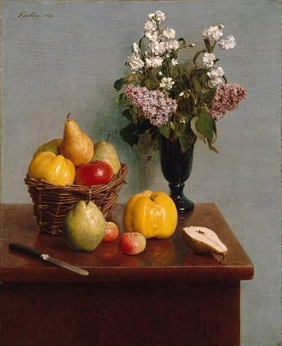 stillleben-gemaelde - Still Life with Flowers and Fruit - Fantin Latour, Henri