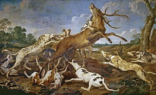 tiermalereien - Ciervo acosado por una jauría de perros (Caza) - Paul de Vos