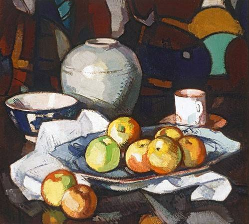 stillleben-gemaelde - Still life apples and jar - Peploe, Samuel