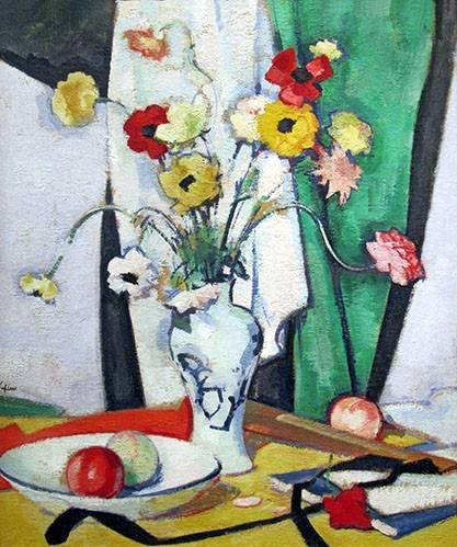 stillleben-gemaelde - Still life with flowers fruit and fan - Peploe, Samuel