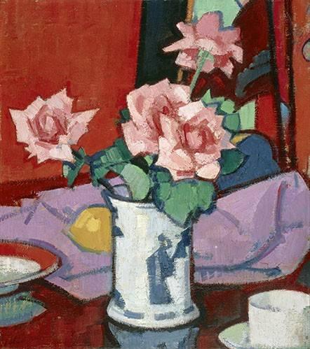 blumen-und-pflanzen - Pink Roses, Chinese Vase - Peploe, Samuel