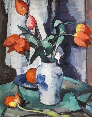 blumen-und-pflanzen - Orange tulips, Chinese Vase - Peploe, Samuel