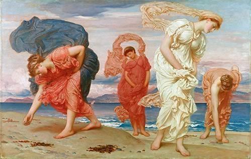 portraetgemaelde - Jovenes griegas recogiendo guijarros al borde del mar - Leighton, Frederick