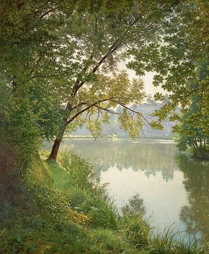 landschaften-gemaelde - Matin à Villeneuve - Biva, Henri