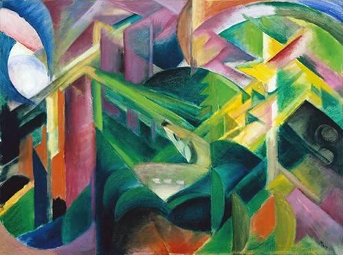 abstrakte-gemaelde - Cerf dans un jardin du monastère - Marc, Franz