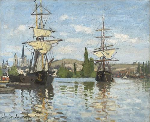 seelandschaft - Navires à cheval sur la Seine à Rouen, 1872 - Monet, Claude
