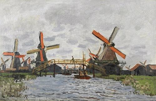 landschaften-gemaelde - Moulins à vent près de Zaandam, 1871 - Monet, Claude