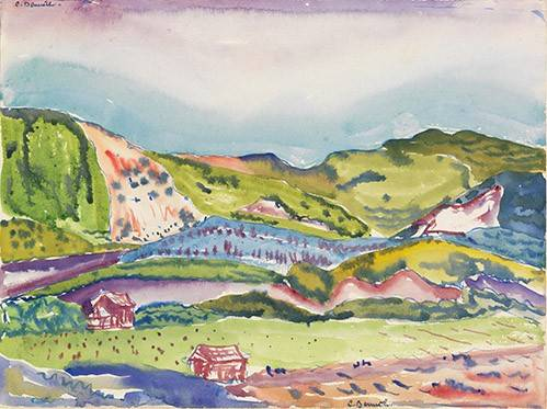 moderne-gemaelde - Mountain with Red House - Demuth, Charles