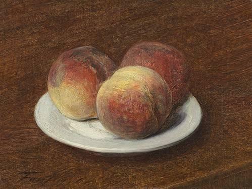 stillleben-gemaelde - Three Peaches on a Plate, 1868 - Fantin Latour, Henri