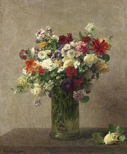blumen-und-pflanzen - Flores en un jarron - Fantin Latour, Henri