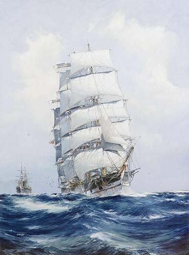 seelandschaft - The square-rigged wool clipper under full sail - Spurlng, J.