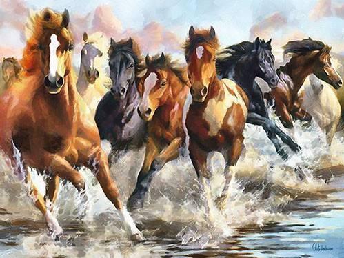 moderne-gemaelde - Moderno CM10750- (caballos) - Medeiros, Celito