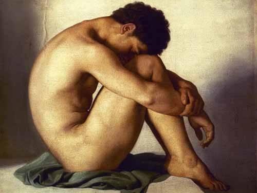 portraetgemaelde - Estudio de un joven desnudo - Flandrin, Hippolyte